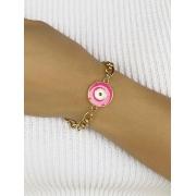 Pulseira Olho Grego Pink Esmaltado banhado em Ouro 18K