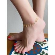 Tornozeleira Ancora com Bolinhas Coloridas banhado em Ouro 18K
