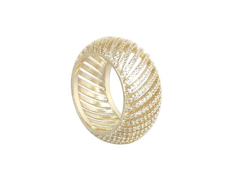Anel Aros com Zircônia Cristal banhado em Ouro 18K