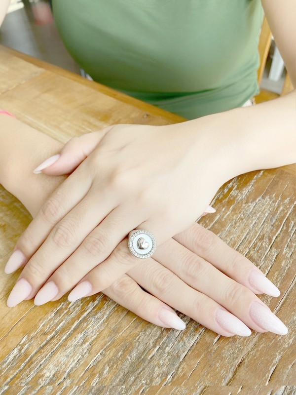 Anel de Dedinho Ajustável Coração com Zirconias Cristal banhado em Ouro 18K/Ródio Branco
