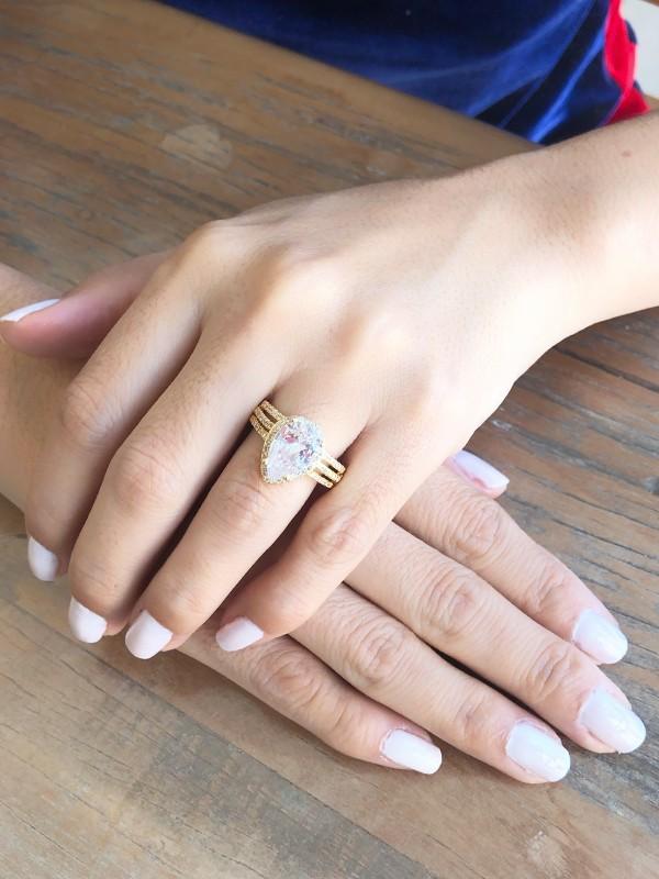 Anel Gota Com Zirconia Cristal banhado em Ouro 18K