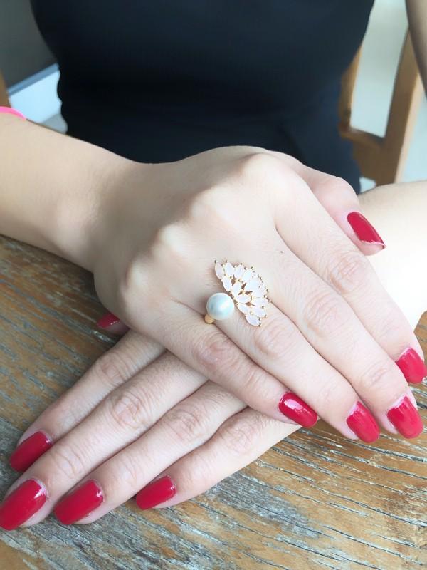 Anel Leque com Zircônia Rosa Leitosa banhado em Ouro 18K