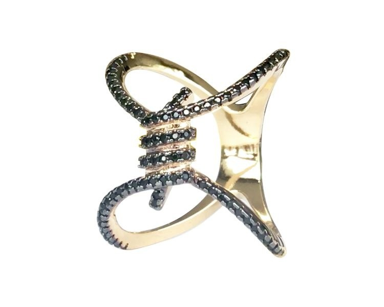 Anel X Torcido com Zircônia Negra banhado em Ouro 18K
