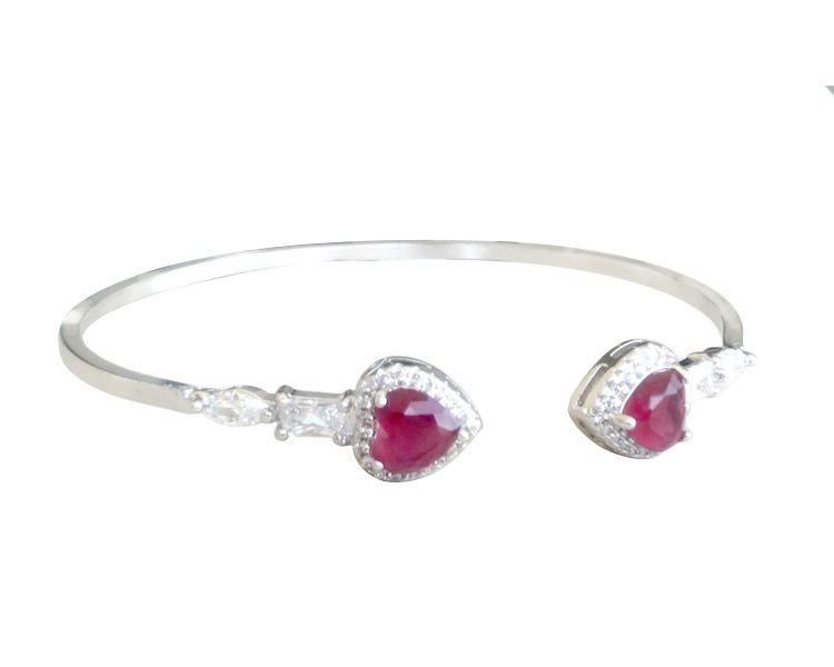 Bracelete com Zircônia Rubi e Cristal banhado em Ródio Branco