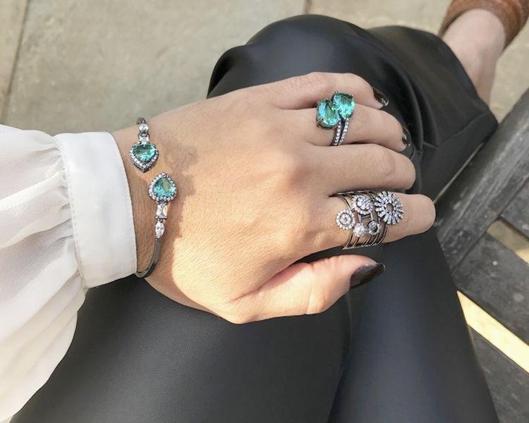 Bracelete com Zircônia Turmalina e Cristal Banhado em Ródio Negro