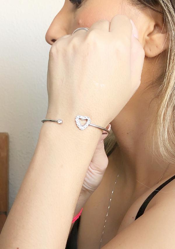 Bracelete Coração com Ponto de Luz banhado em Ouro 18K
