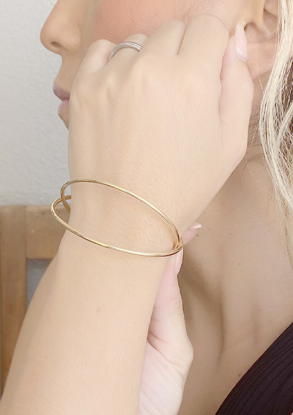 Bracelete Duplo Liso banhado em Ouro 18K