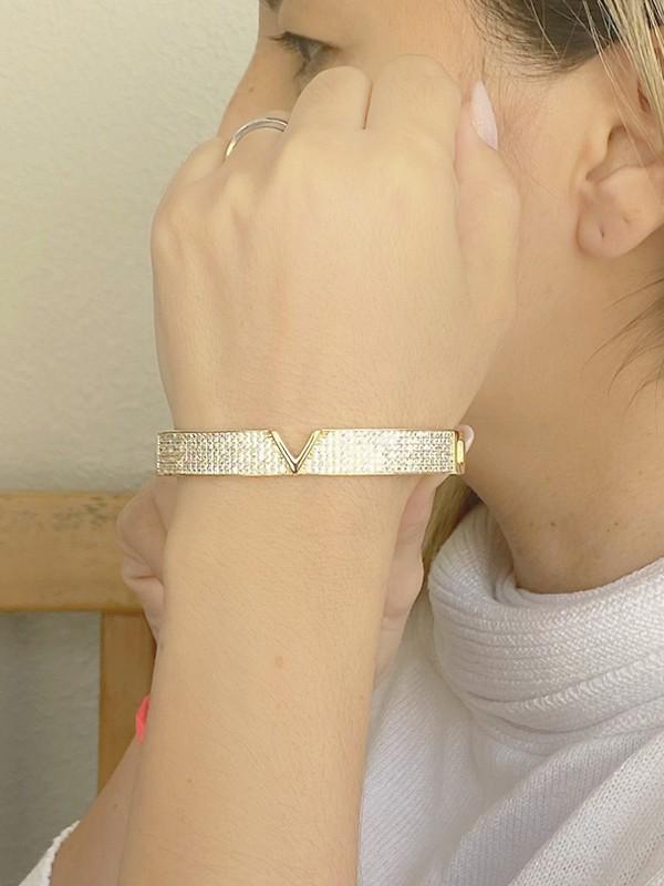 Bracelete Largo V banhado em Ouro 18K