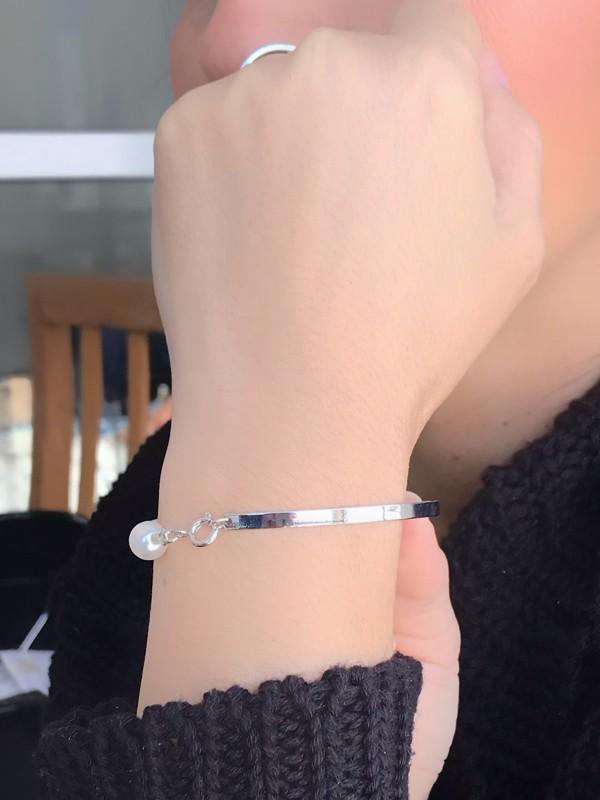 Bracelete Pérolas banhado em Ródio Branco