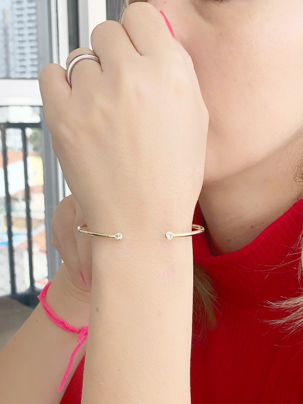 Bracelete Ponto de Luz banhado em Ouro 18K/Ródio Branco