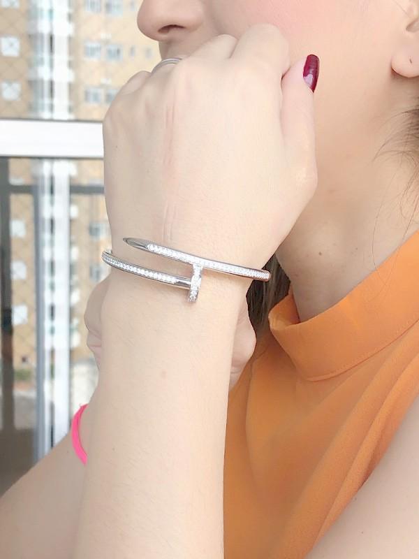 Bracelete Prego Cravejado banhado em Ródio Branco