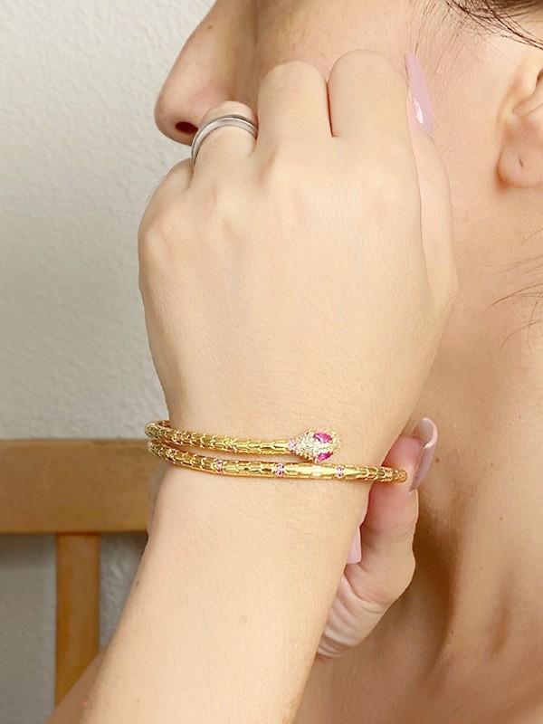 Bracelete Snake com Zirconias Rubi banhado em Ouro 18K