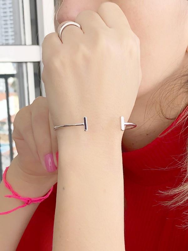Bracelete Tyffani Liso banhado em Ouro 18K/Ródio Branco