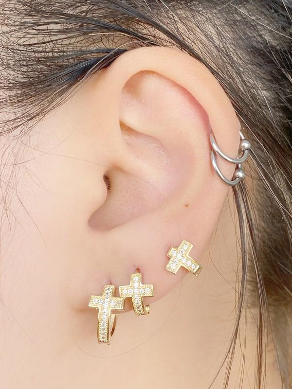 Brinco Argola Trio Crucifixo Cravejado banhado em Ouro 18K/Ródio Branco
