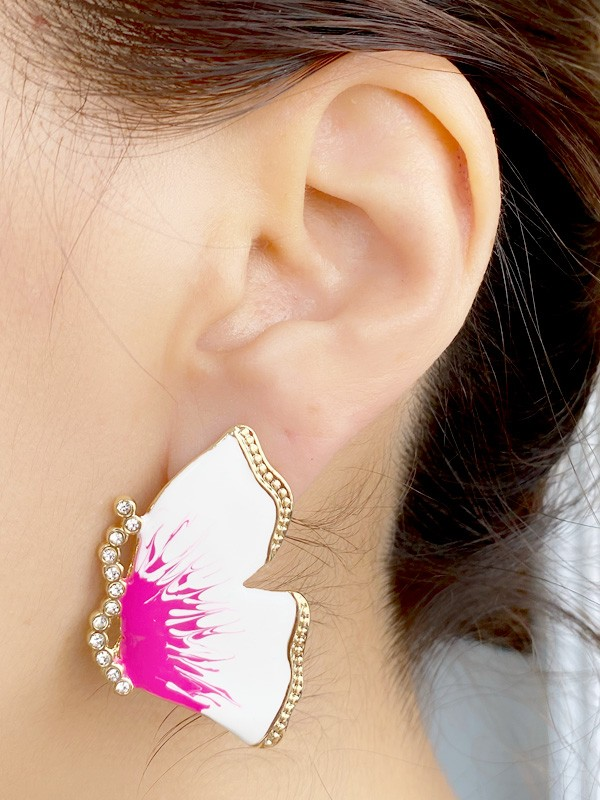 Brinco Borboleta Esmaltada Branco e Pink com Pedras banhado em Ouro 18K