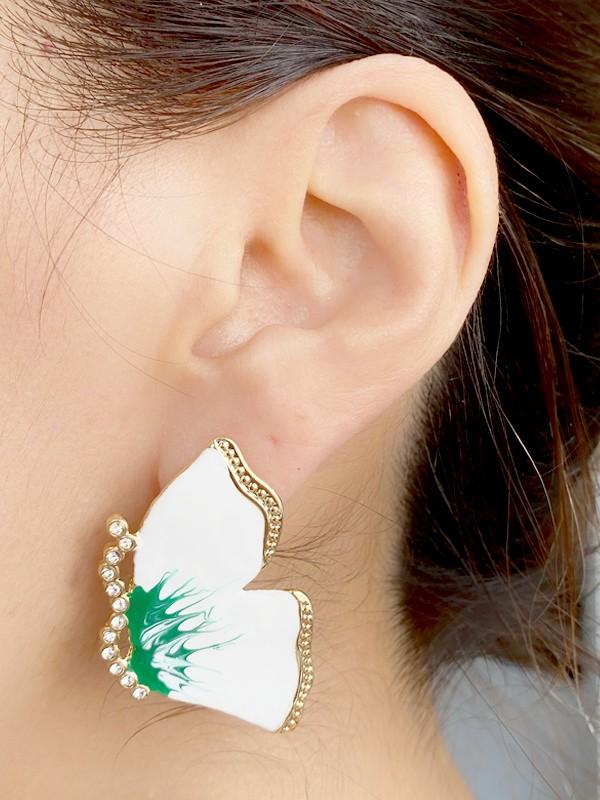 Brinco Borboleta Esmaltada Branco e Verde com Pedras banhado em Ouro 18K