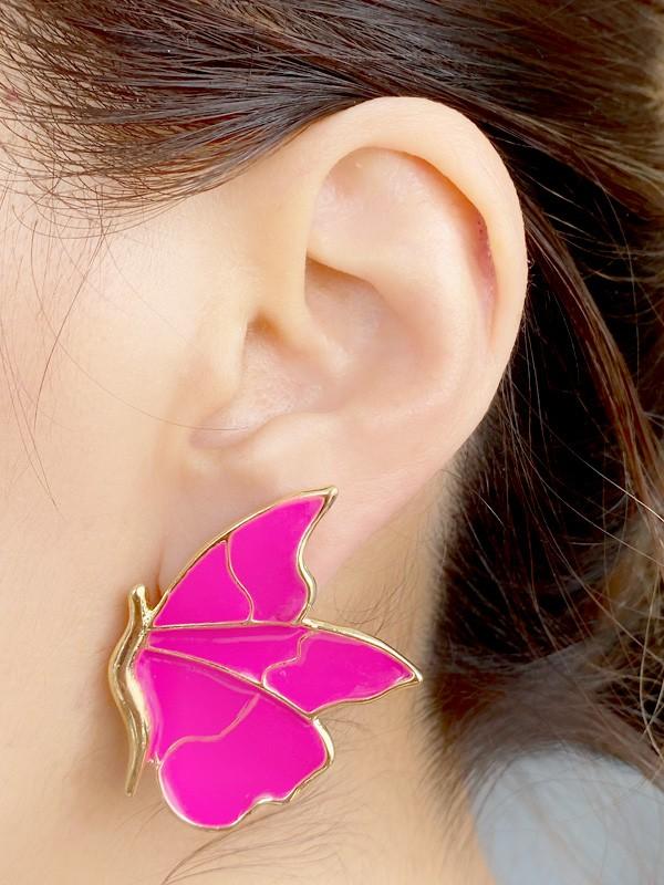 Brinco Borboleta G Esmaltada Pink banhado em Ouro 18K