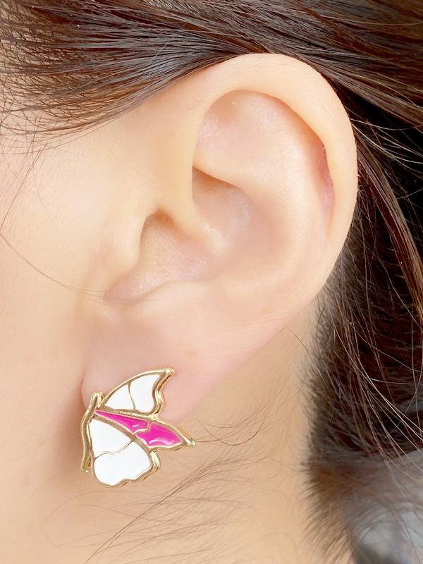 Brinco Borboleta P Esmaltada Branco e Pink banhado em Ouro 18K