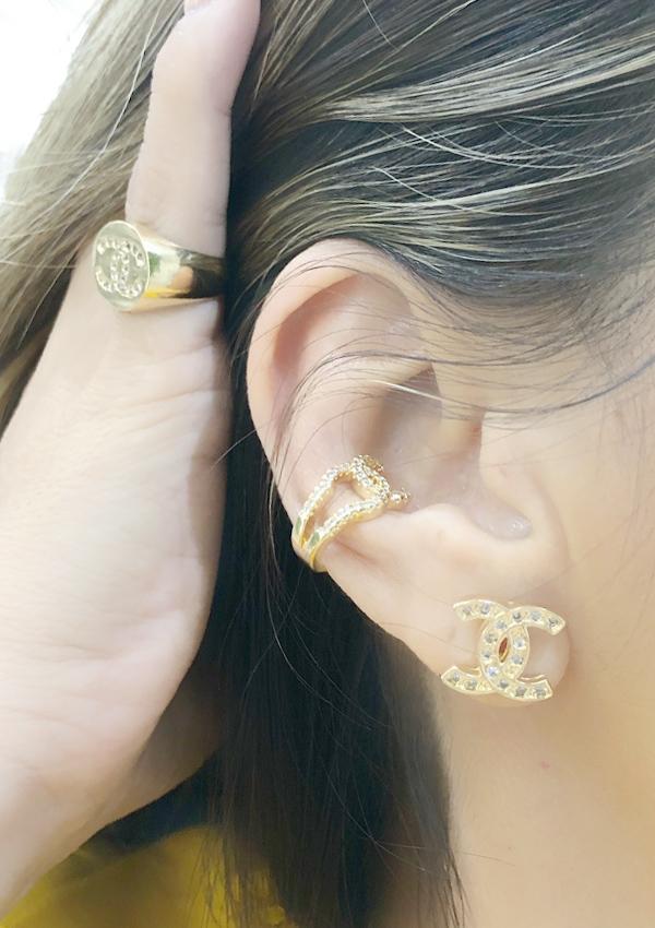 Brinco Chanel Cristal banhado em Ouro 18K