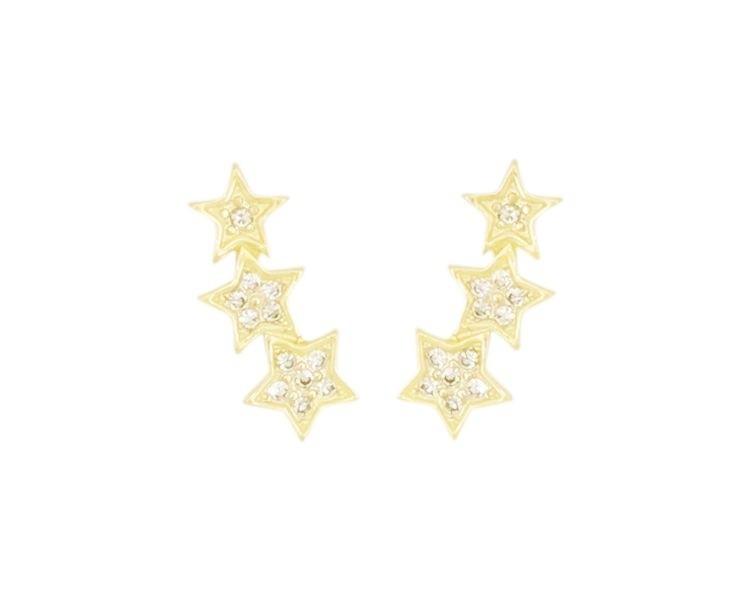 Brinco Earcuff Estrelas com Zircônias Cristal banhado em Ouro 18K