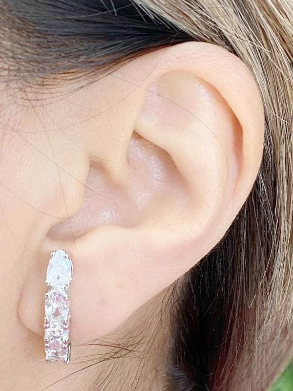 Brinco Earhook Cristal banhado em Ouro 18k/Ródio Branco