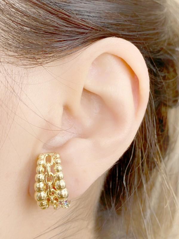 Brinco Earhook Esferas com Zirconias Coloridas banhado em Ouro 18K/Ródio Branco