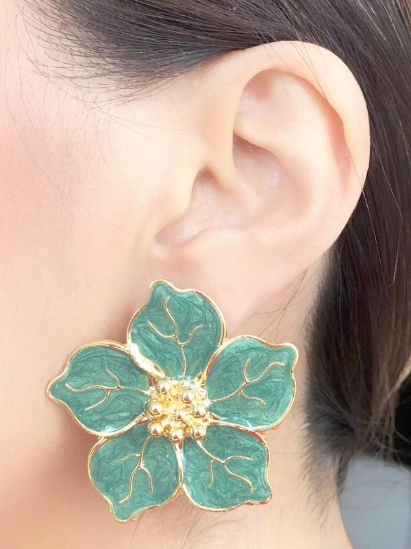Brinco Flor Grande Verde Esmaltada banhado em Ouro 18K