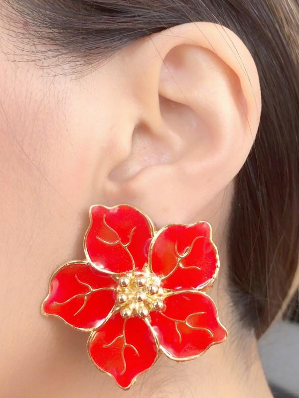 Brinco Flor Grande Vermelha Esmaltada banhado em Ouro 18K
