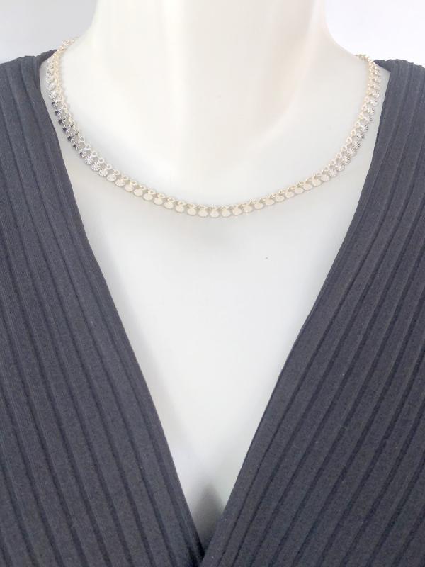 Choker Chapinhas Texturizadas banhado em Ouro 18K/Ródio Branco