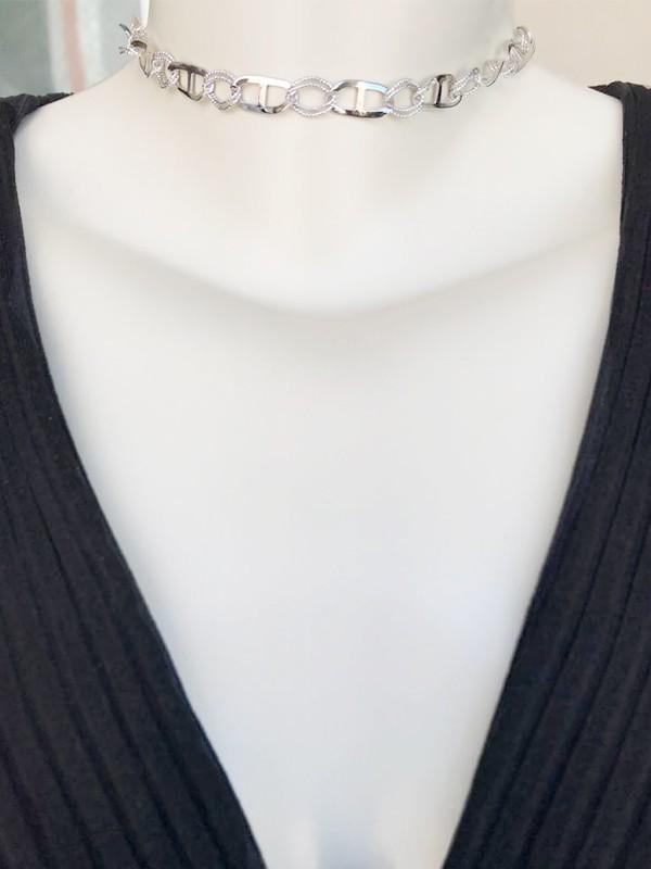 Choker Elos Thassia Naves Banhado em Ródio Branco