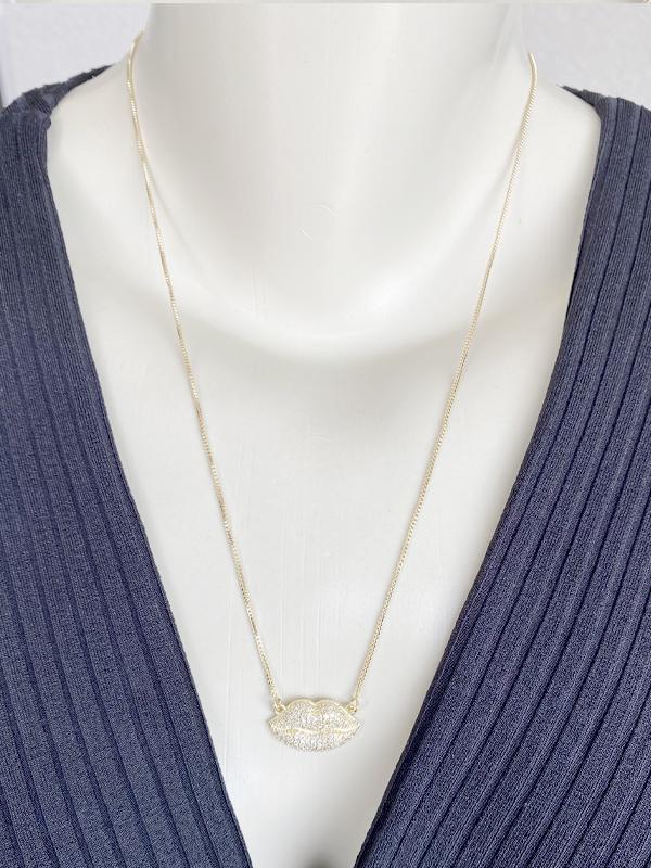 Colar Boca Cravejado Cristal banhado em Ouro 18K/Ródio Branco