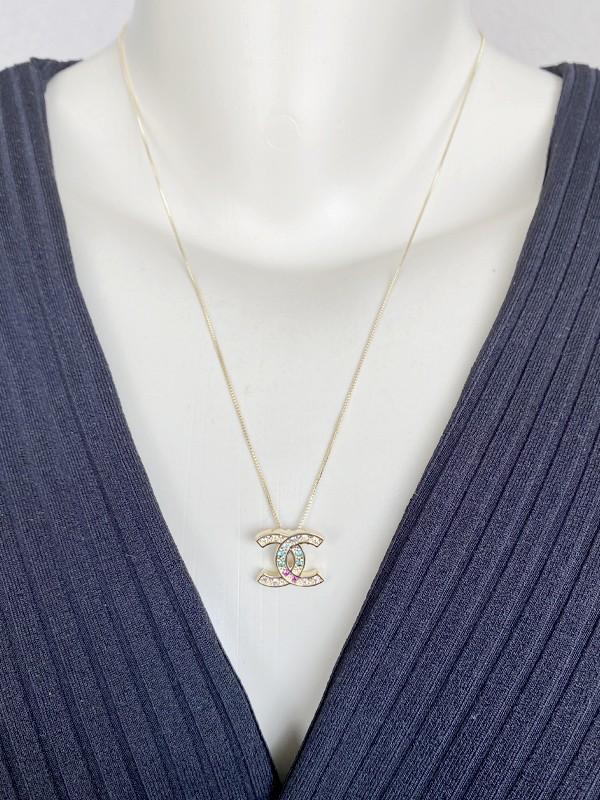 Colar Chanel Cravejado Colorido banhado em Ouro 18K/Ródio Branco