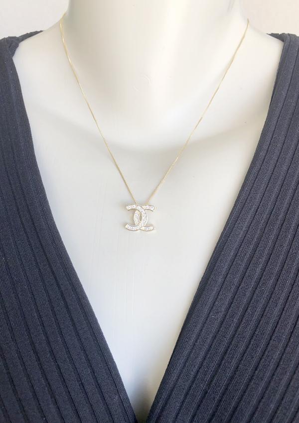 Colar Chanel Cristal banhado em Ouro 18K