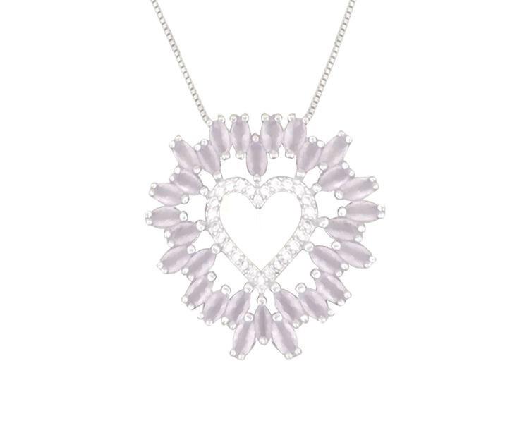 Colar Coração com Zircônia Cristal e Rosa Leitosa banhado em Ródio Branco