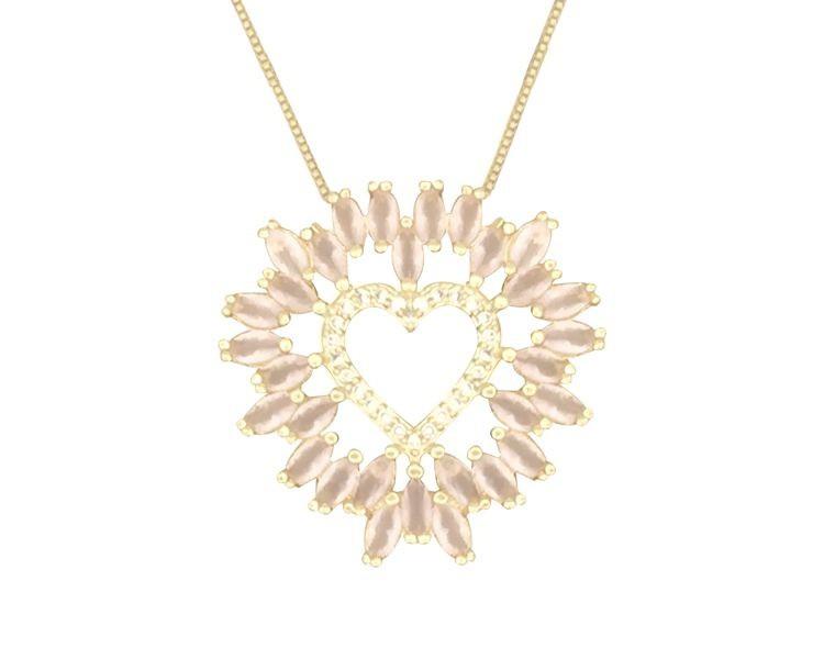 Colar Coração com Zircônia Cristal e Rosa Leitoso banhado em Ouro 18K