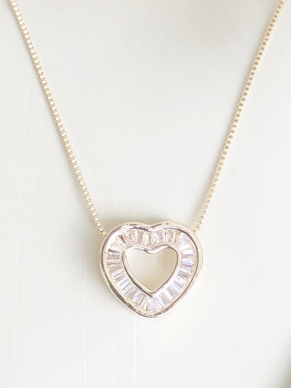 Colar Coração Navete Cristal banhado em Ouro 18K/Ródio Branco