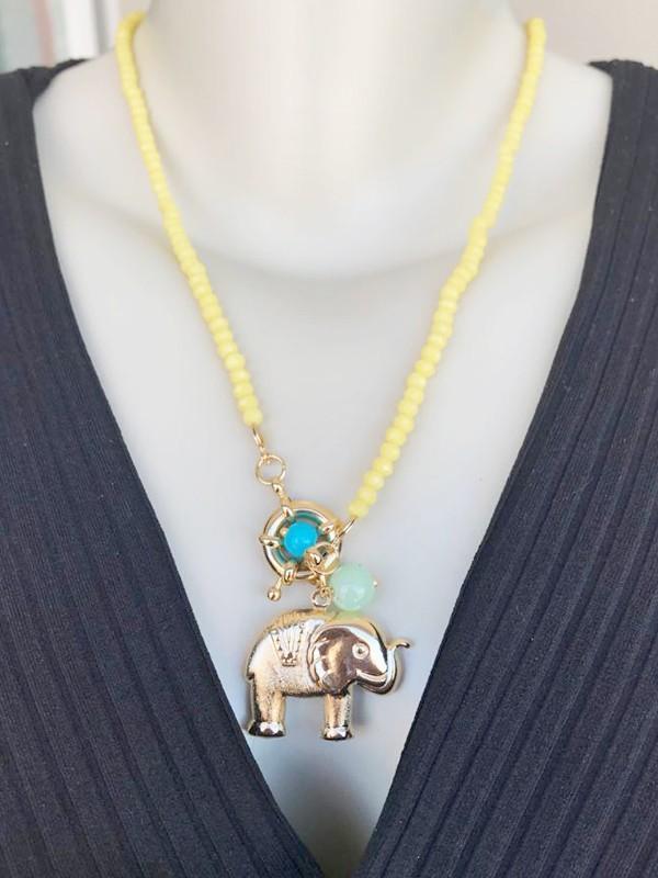 Colar Cristais Elefante Com Fecho Bóia banhado em Ouro 18K