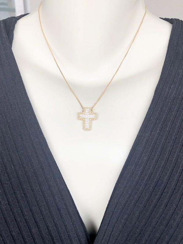 Colar Crucifixo Ca P banhado em Ouro 18K