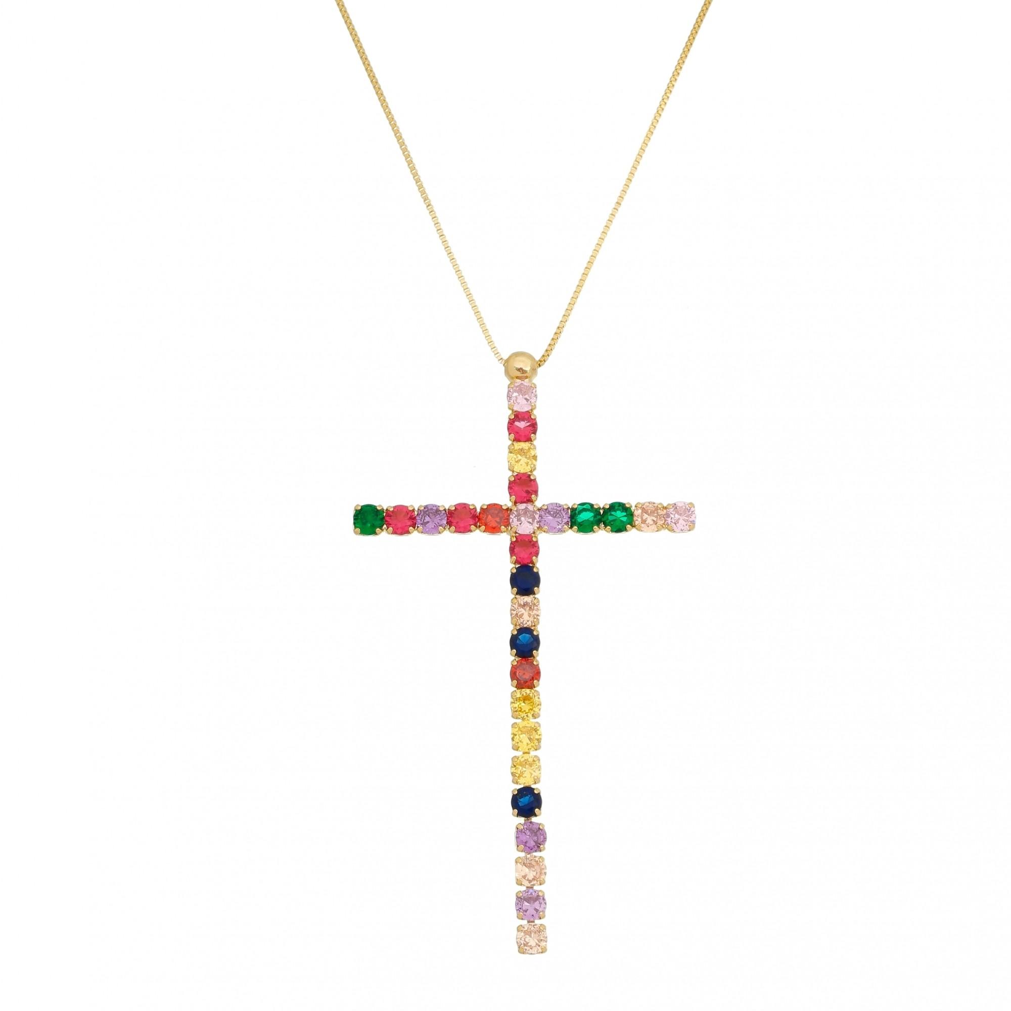 Colar Crucifixo Colors Maleável Banhado em Ouro 18K