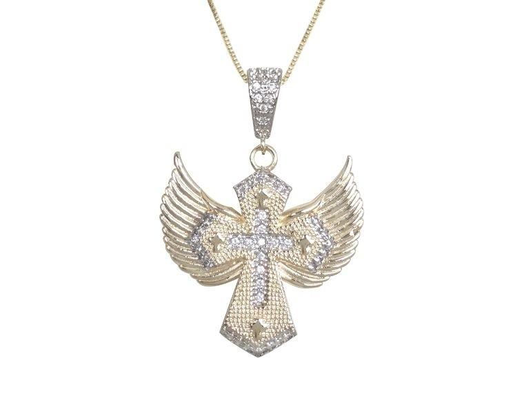 Colar Crucifixo com Zircônia Cristal banhado em Ouro 18K