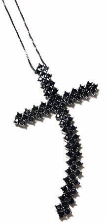 Colar Crucifixo Maleável com Zircônia Negra banhado em Ródio Negro