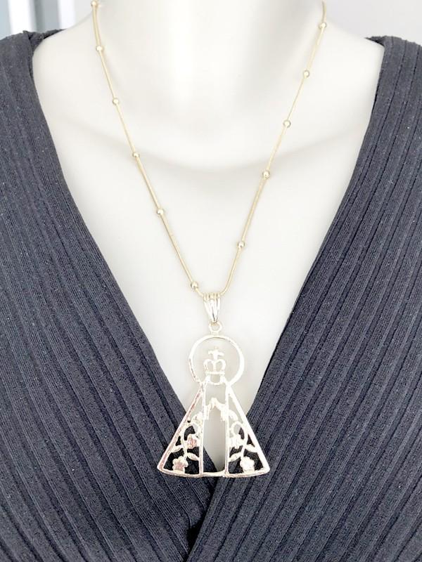 Colar Crucifixo/Ponto de Luz/Espírito Santo banhado em Ródio Branco