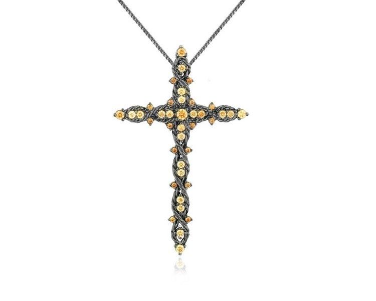 Colar Crucifixo Trançado com Zircônia Cristal Banhado em Ródio Negro