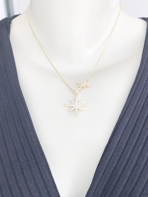 Colar Estrela Dupla banhado em Ouro 18K/Ródio Branco