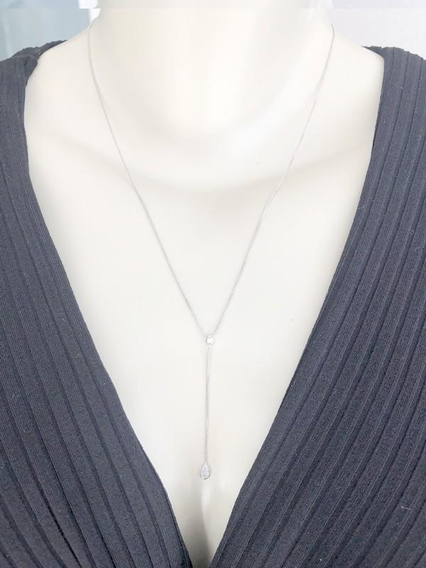Colar Gravatinha Delicada banhado em Ródio Branco
