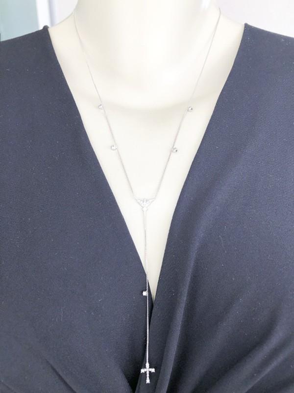 Colar Gravatinha Espirito Santo banhado em Ouro 18K/Ródio Branco