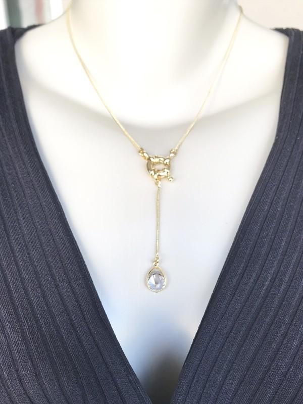 Colar Gravatinha Fecho Boia/Ponto de Luz banhado em Ouro 18K