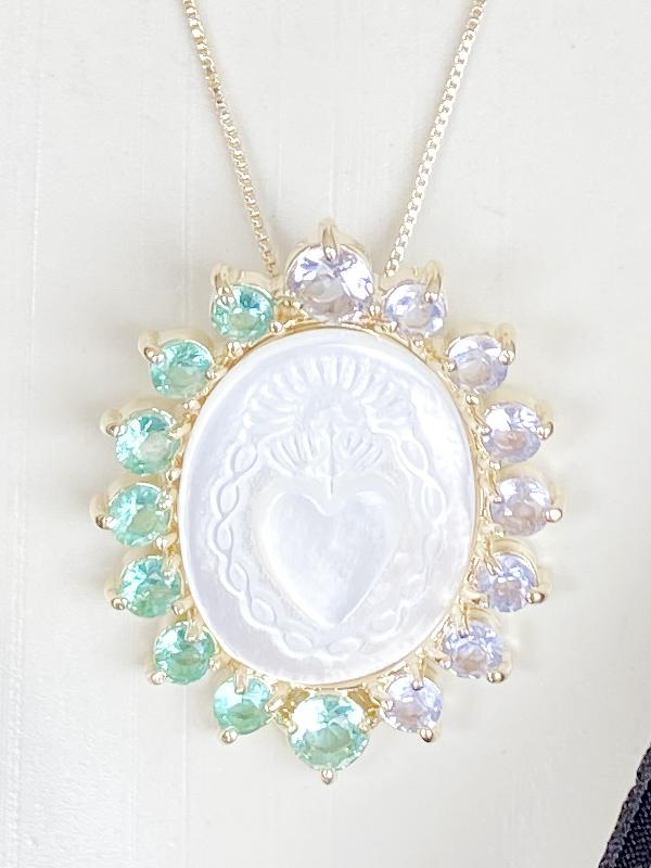 Colar Mandala Sagrado Coração banhado em Ouro 18K/Ródio Branco