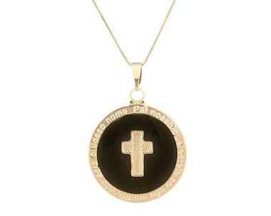 Colar Medalha Crucifixo banhado em Ouro 18K