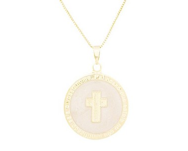 Colar Medalha Crucifixo Resinado Banhado em Ouro 18K
